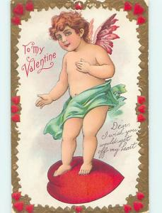 Pre-Linen valentine message GET OFF MY HEART - CUPID STANDING ON HEART HJ2595
