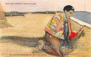 MUSA Isle Seminole Indian Village Alligator Wrestling Unused