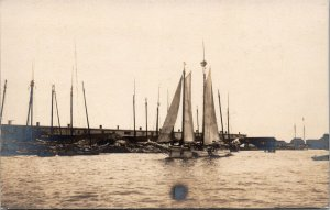 Postcard RPPC Real Photo Sail Boats Harbor Unknown Location Unposted