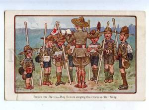 202739 Boy SCOUTS singing WAR Song by IBBETSON Vintage PC