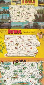 Iowa Greetings From 3x Map Postcard s