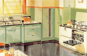 Nostalgia Postcard Contemporary Kitchen Interior Design 1937 #AD15/2