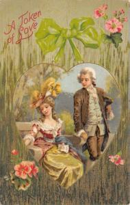 Valentine~Regency Couple in Heart~Tall Grass Background~Pink Flowers~Emb~Winsch
