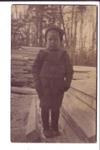 Real Photo, Boy Outdoors in Winter Clothes