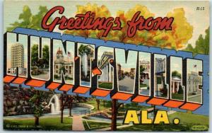 1940s HUNTSVILLE Alabama Large Letter Postcard Multi-View Curteich Linen unused
