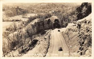 Cumberlands Tennessee~Classic Cars Driving on US 27 Along Mountain~1940s RPPC