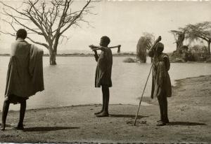 ethiopia, Native Afar (?) Tribe Men, Desert Nomads (1940s) RPPC Postcard