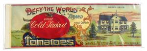 Defy The World Tomatoes Vintage Can Label Quinton NJ Litho