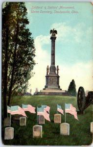 Steubenville, Ohio Postcard Soldiers & Sailors Monument, UNION CEMETERY c1910