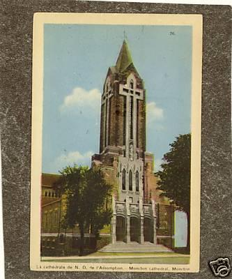 Moncton  NB CANADA CHURCH CATHEDRAL 1940s postcard