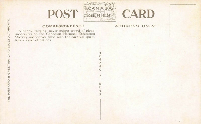 Grand Stand, Canadian National Exhibition, Toronto, Early Postcard, Unused