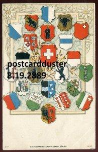 2889 - SWITZERLAND PATRIOTIC Postcard 1900s Embossed Canton Crests