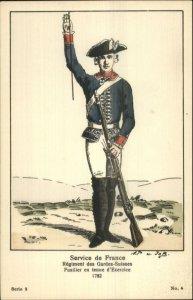 Swiss Army Uniform Gun Series 2 #4 c1910 Postcard SERVICE DE FRANCE