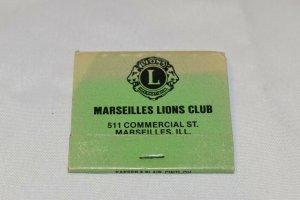 Marseilles Lions Club Illinois 30 Strike Matchbook
