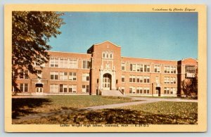 Ironwood Michigan~Luther Wright High School in Fall~Leaves on Lawn~1950s