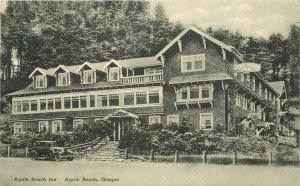 Agate Beach Oregon autos Beach Inn Albertype C-1920s Postcard 21-7369