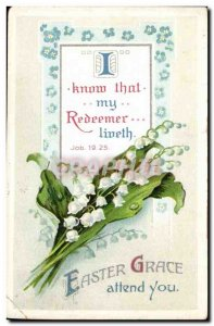 Old Postcard Fantasy Easter grace awaits you (relief thrush) Easter