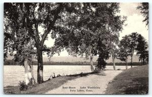 Postcard CT Twin Lakes East Shore Lake Washining Pub Service Pharmacy Canaan D16
