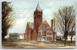 Owosso Michigan~ME Church & Street Scene~Folk on Sidewalk~1911