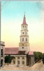 Charleston, South Carolina Postcard ST. MICHAEL'S CHURCH Hand-Colored c1930s