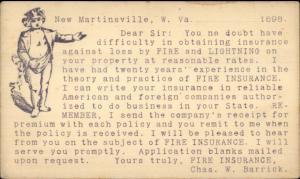 New Martinsville WV Fire Lightning Insurance Postal Card Advertising 1898 jrf