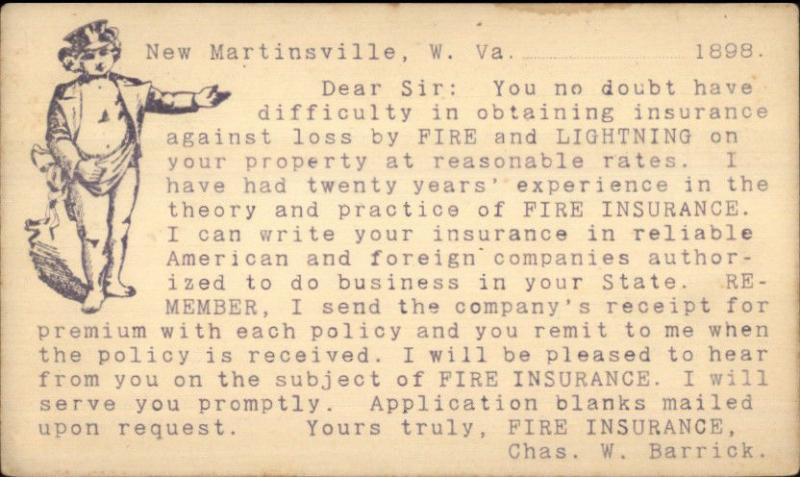New Martinsville WV Fire Lightning Insurance Postal Card Advertising 1898 jrf