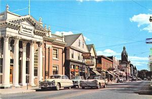 Warren RI Street View Store fronts Old Cars Postcard