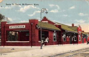 McPherson Kansas Santa Fe Depot Train Station Vintage Postcard JJ649014