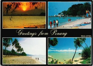 Penang Malaysia Greetings Multiview Vintage w/ Stamp Postcard C3