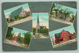 Aurora Illinois~Multi View Churches~ME~Presbyterian~Baptist~Congregational~c1910