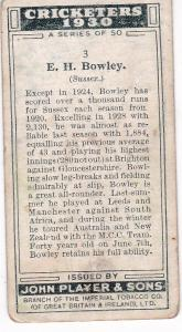 Cigarette Cards Player's Cricketers 1930 No 3 - E H Bowley (Sussex)