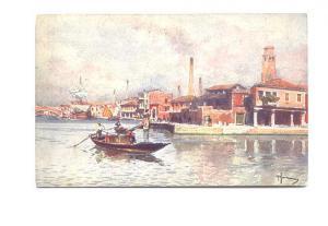 Signed, Estuario Murano L'Isola del fuoco, Italy, Painting
