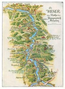 Die Weser von Vlotho bis Hannoversch Muenden Stadtplan Map