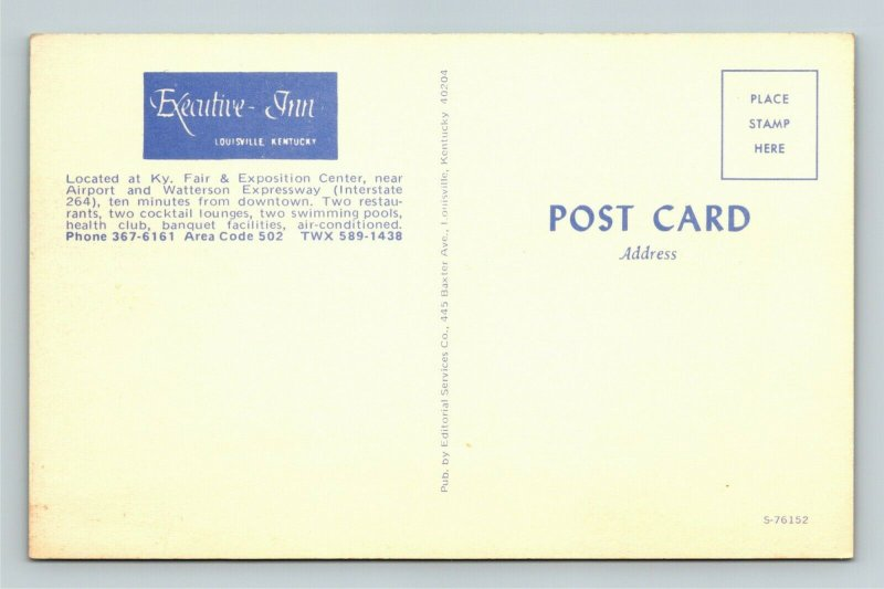 Louisville KY- Kentucky, Executive Inn, Advertising, Chrome Postcard