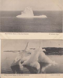 Royal National Mission To Deep Sea Fishermen 2x Old Iceberg Disaster Postcard s