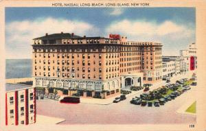 Hotel Nassau, Long Beach, Long Island, N.Y., Early Linen Postcard, Unused