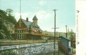 Easton PA LVRR Station  Postcard DAMAGED