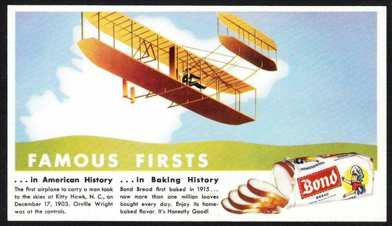 Bond Bread Famous Firsts blotter – Kitty Hawk