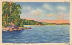 Greetings from Boonville Oneida County NY New York Lake Scene - pm 1946 - Linen