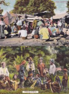 A Group of Shans Native Shan People Burmese Women Burma Bazar 2x Postcard