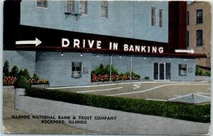 Rockford IL Linen Ad Postcard Illinois National Bank & Trust DRIVE IN BANKING