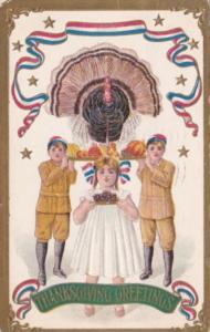 Thanksgiving Turkey and Children 1907