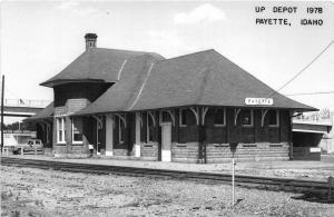 F26/ Payette Idaho RPPC Postcard c1978 UP Railroad Depot