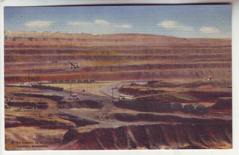 PC7 JLs postcard linen railroad hull-rust mine hibbing mn.