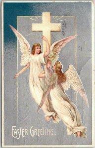 1911 CHRISTMAS Embossed Greetings Postcard Flying ANGEL Girls / White Cross