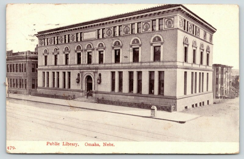 Omaha Nebraska~Beaux Arts Public Library~Letter Drop Box on Corner~1909