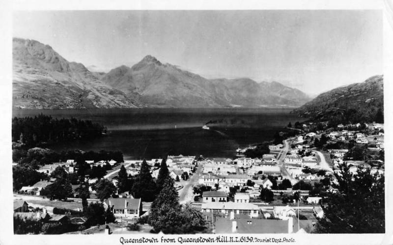 Queenstown New Zealand panoramic birds eye view of area real photo pc Y14801