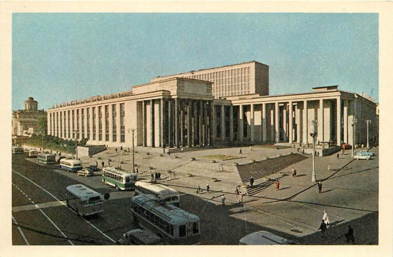 Russia Moscow Lenin Library surface public transport in front trolley buses