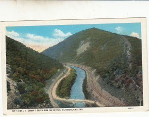 P1740 old unused postcard nat,l highway railroad narrows cumberland maryland