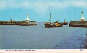 Trawlers Entering Lowestoft Harbour 1970s Postcard